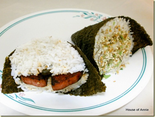 Spam musubi and Ume musubi