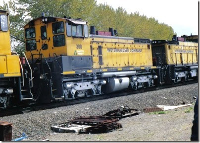 Weyerhaeuser Woods Railroad (WTCX) SW1500 #308 at Longview, Washington on May 17, 2005