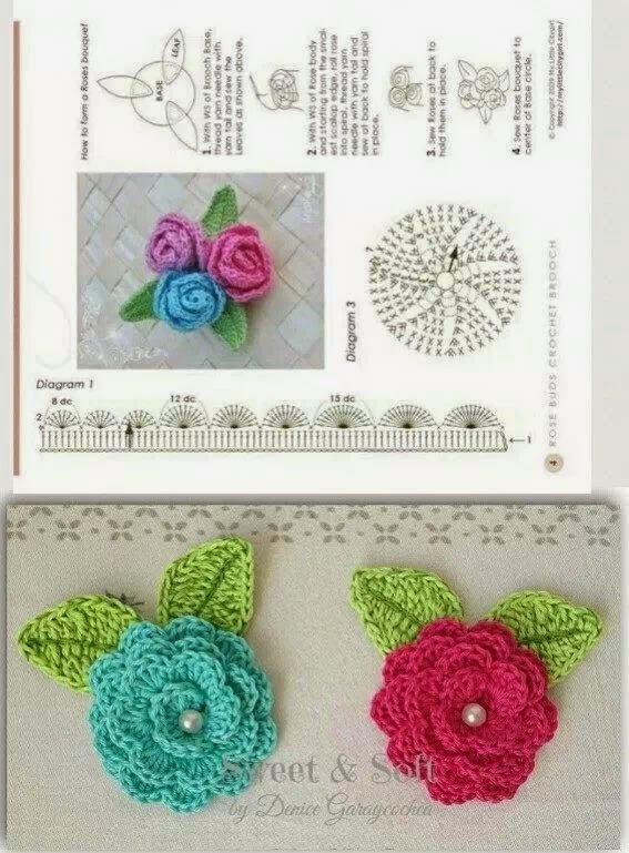 Flores De Crochet. Patrones De Flores Para Tejer Al Crochet. . Foto ...