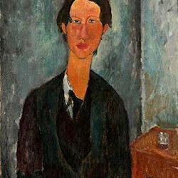 Modigliani, Chaim Soutine Seated at Table 1917