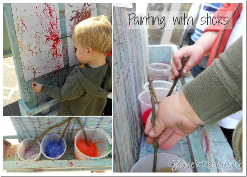 Painting with sticks in preschool 4