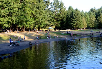 popular swimming area on a warm Sunday evening
