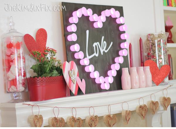 Valentines Day Mantel