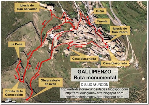 Mapa Gallipienzo - Ruta monumental