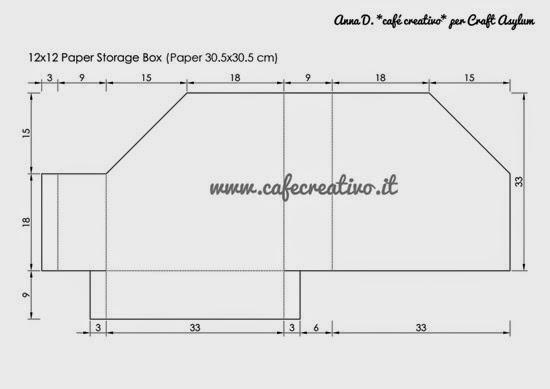 template 12x12 paper storage box - raccoglitore fogli scrap