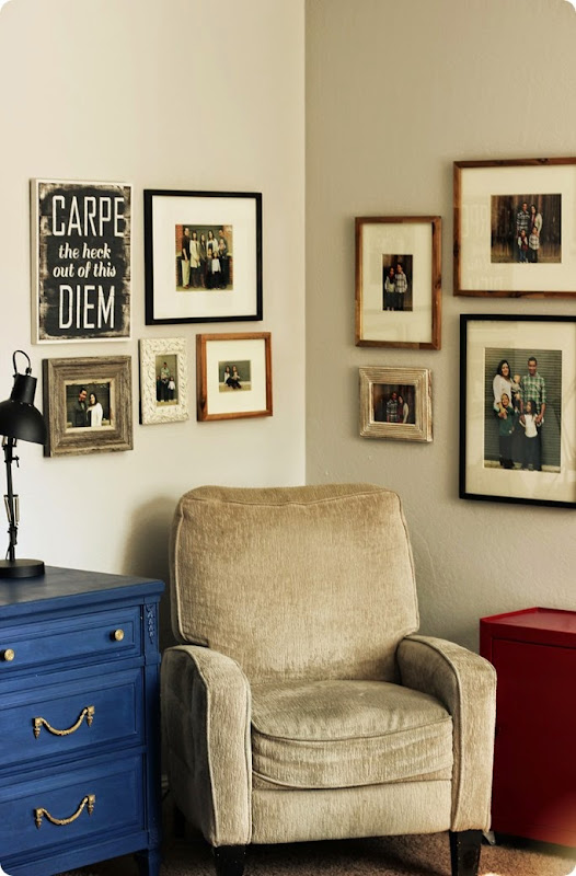 alwaysinwonder's family photo gallery wall with large prints
