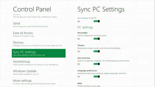 Windows 8 Sync PC Settings