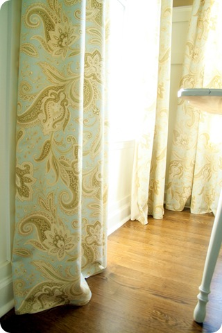 blue waverly fabric drapes