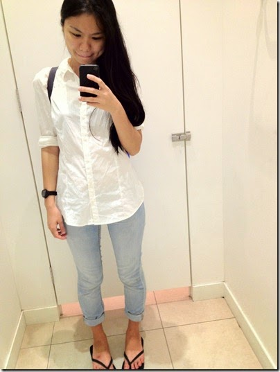 H&M plain white top, H&M chambray jeggins