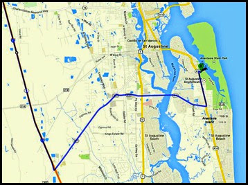 00b - Map to Anastasia State Park via I-95, 207, 312 and A1A
