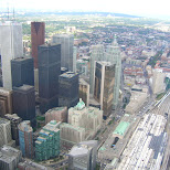 financial center seen from the CN tower in toronto in Toronto, Ontario, Canada
