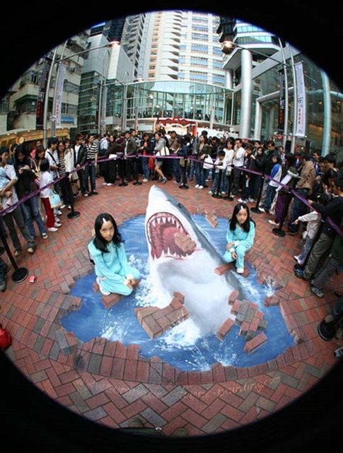 34. Graffiti 3D de tiburones