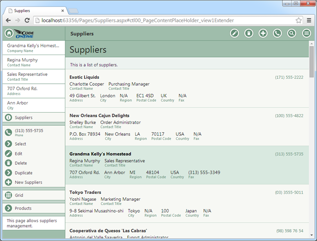A single column list of items in a web app with Touch UI.