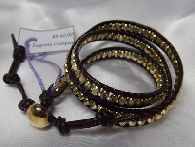 1016 -  Chan Luu de contas douradas - couro marrom