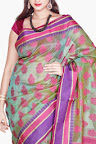 Light Moss Green & Pink Organza Cotton Silk Saree Buy Online SKS114B.jpg