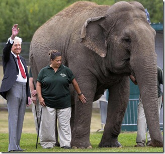 Bob Barker with Lucy the Elephant