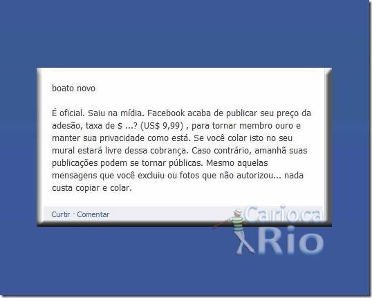 Texto afirma que o Facebook será cobrado! (Reprodução: Facebook)
