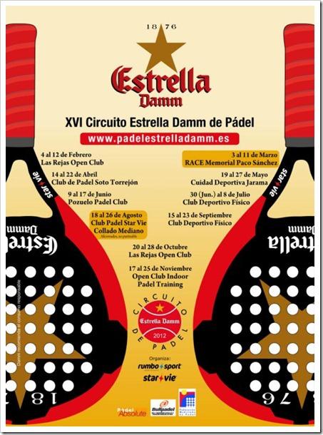 Circuito Estrella Damm de Pádel, esta temporada en su edición XVI. El Circuito 2012 tiene las siguiente pruebas
