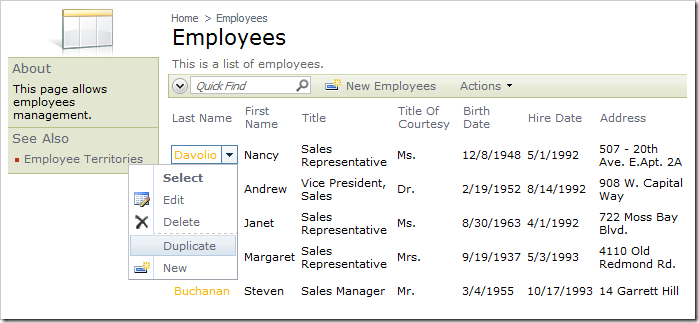 Duplicate action for context menu of a row in Employees grid.