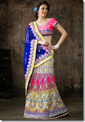 Royal Blue, Cream and pink lehenga Saree - Kopanaa