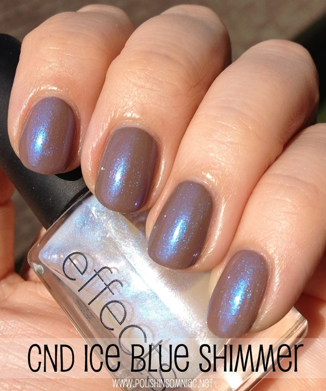 CND Effects Ice Blue Shimmer over Layla Gel Effects Beige Revolution