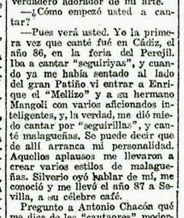 1922-06-28 (p. La Voz) Luis Bagaria entrevista a Chacon (detalle)