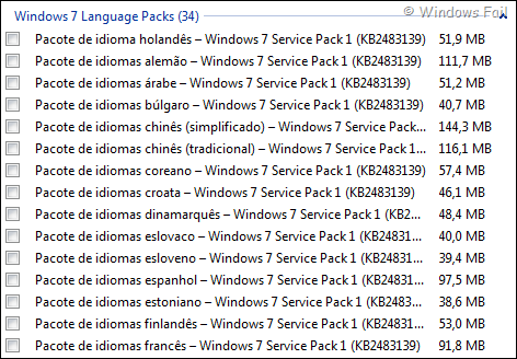 Pacote de idiomas para Windows 7