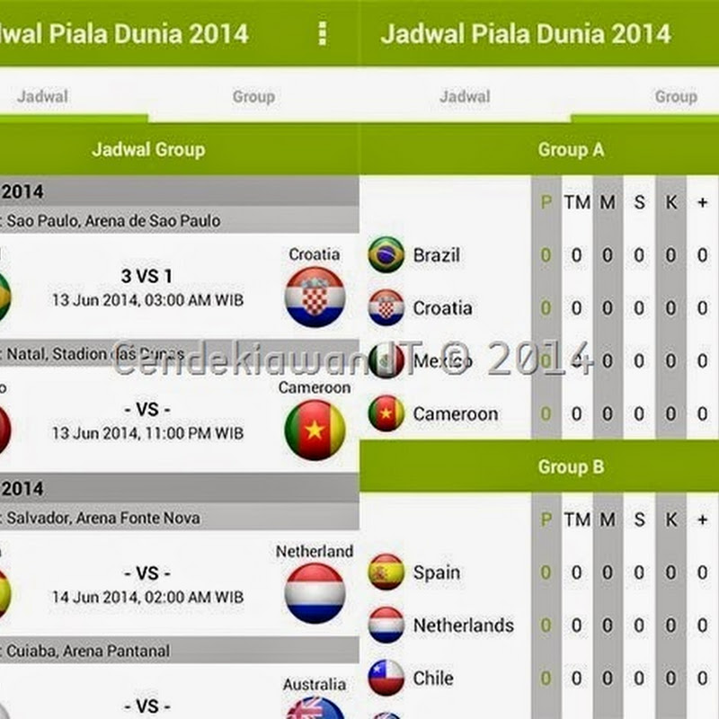 Jadwal Piala Dunia 2014 Android Apps APK