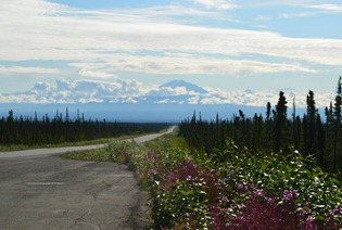 M t Drum in the center and Mt Wrangell on the right
