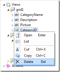 Delete context menu option for a data field in the Project Explorer.