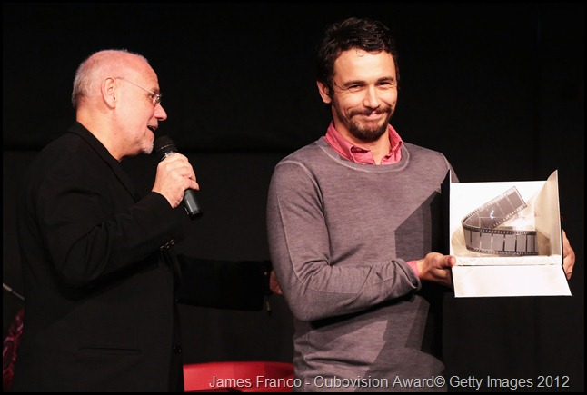 ROME, ITALY - NOVEMBER 16:  Actor James Franco during a Masterclass with the Cubovision Award and Festival Director Marco Mueller (L) at the 7th Rome Film Festival at the Auditorium Parco Della Musica on November 16, 2012 in Rome, Italy.  (Photo by Elisabetta Villa/Getty Images)