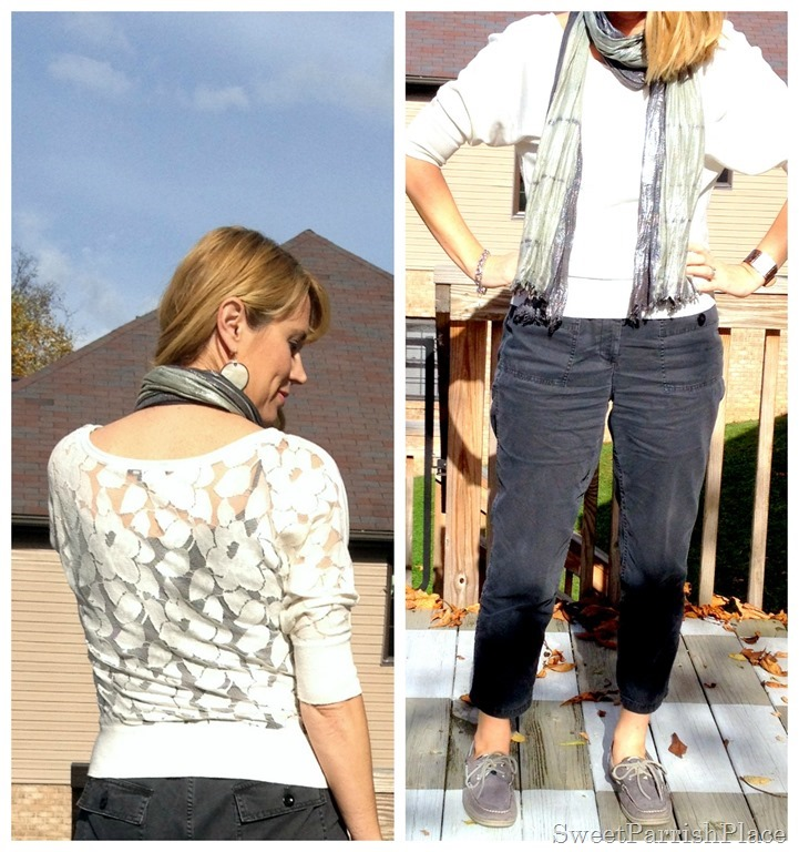 grey pants, cream lace back sweater, Sperrys