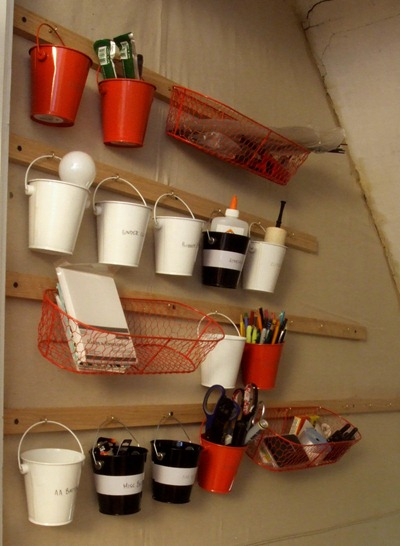 Mini buckets as wall organizers