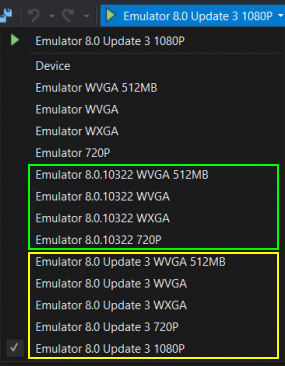 A new set of Windows Phone 8 Emulators (for Update 2 and Update 3)