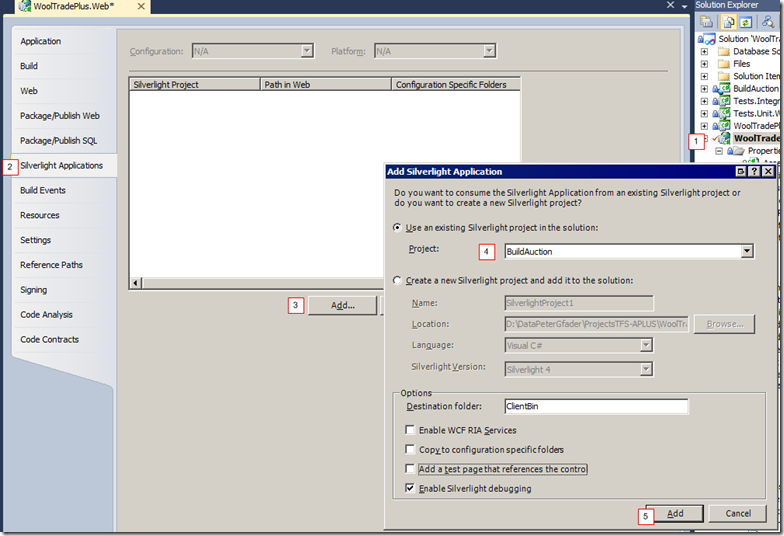 Re-Add Silverlight Application to the hosting web project