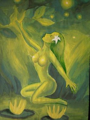 o superba femeie goala pe malul unui lac cu nuferi galbeni in tonuri de verde