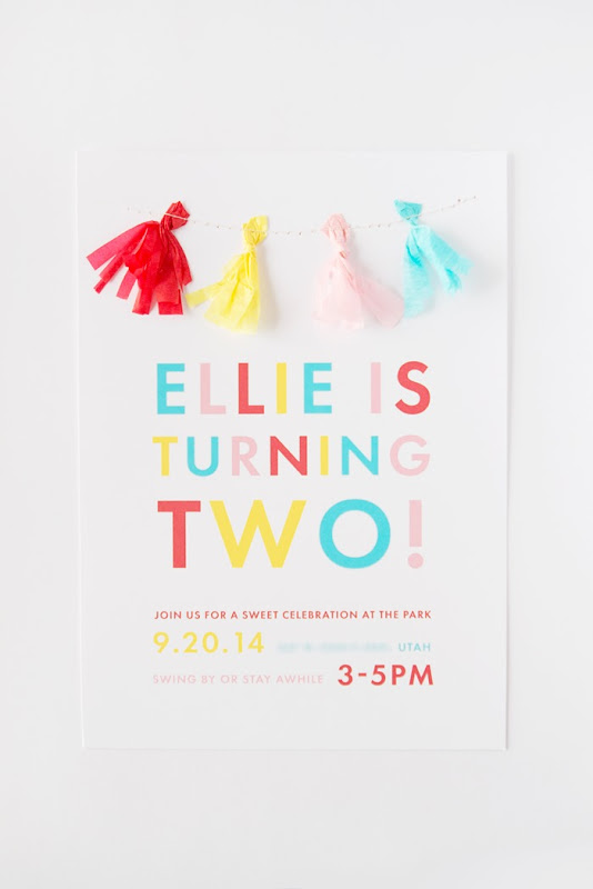 Colorful 2 Year old Party, DIY Tassel Garland Invitation