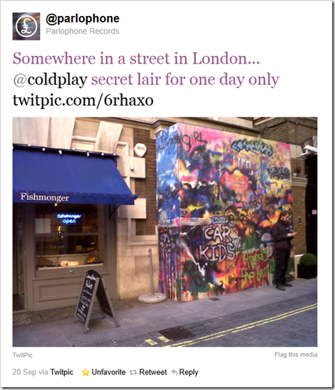 Twitter - @parlophone- Somewhere in a street in L ...