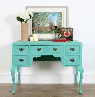 turquoise desk