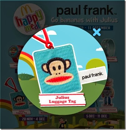 McDonalds happy meal X Paul Frank - Go Banana with Julius luggage tag