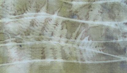 ECO PRINT Farn auf Wolle Eisenbeize Detail