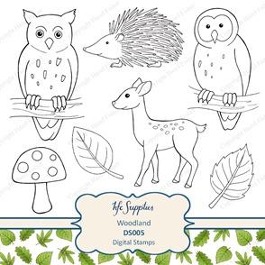 DS005 Woodland owl deerleaf digital stamps clip art 1