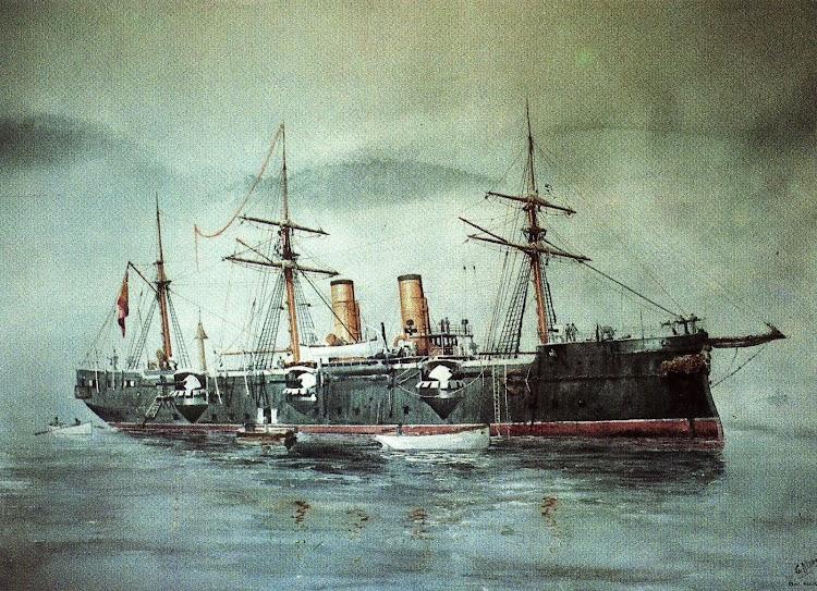 Crucero REINA MERCEDES. Acuarela de Guillermo G. de Aledo. Del libro NUESTRA MARINA.jpg