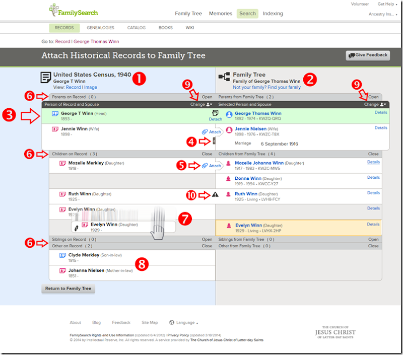 Annotated copy of the Attach Records screen