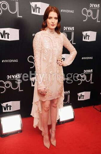 Florence Welch chose to wear a nude silk chiffon dress with leather ...