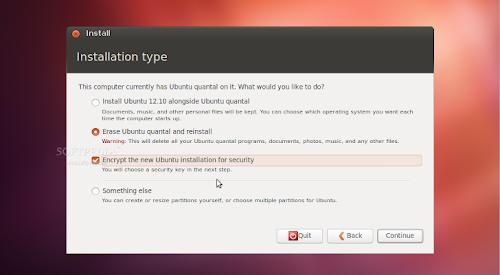 l'opzione per l'installazione crittografata su Ubuntu 12.10