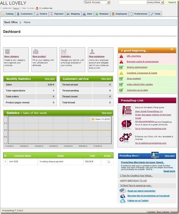 prestaShop™ administration panel
