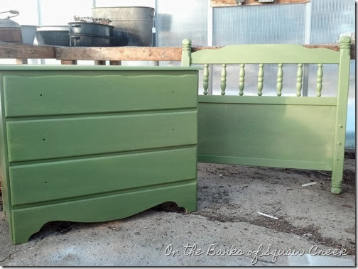 green painted dresser