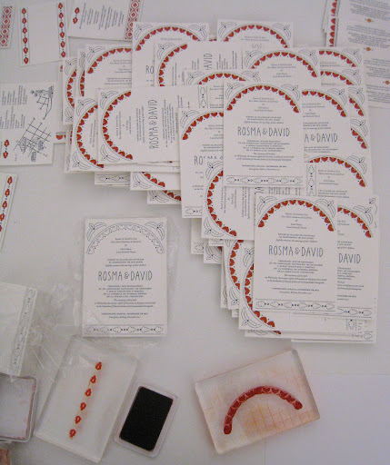 In the middle is the letterpressed invite, and around it you can see Rosma's DIY handiwork.
