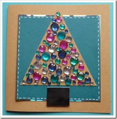 Jewelled Christmas Tree Card.